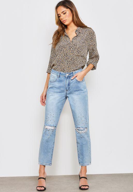 Diamante Detail Knee Slit Boyfriend Jeans