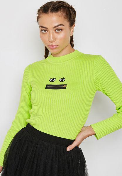 Zip Detail Ribbed Sweater