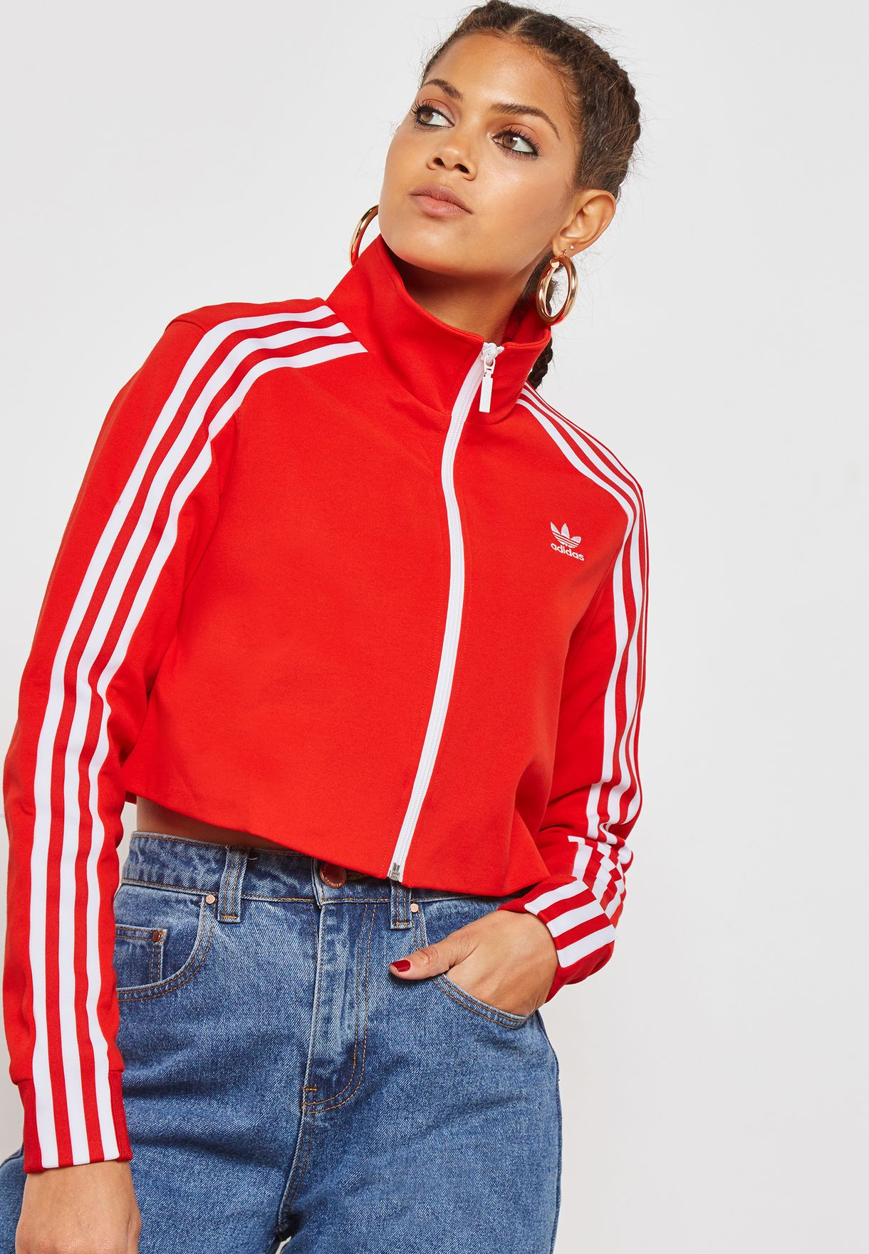 aa63f6fc705c Shop adidas Originals red 3 Stripe Track Jacket DH2726 for Women in UAE -  AD478AT16KDV