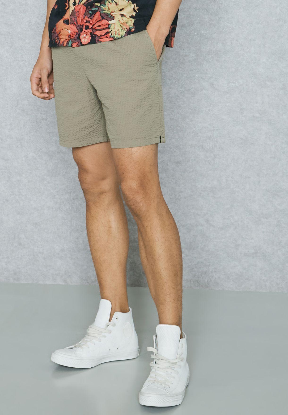 Buy Topman Green Seersucker Shorts For Men In Mena Worldwide