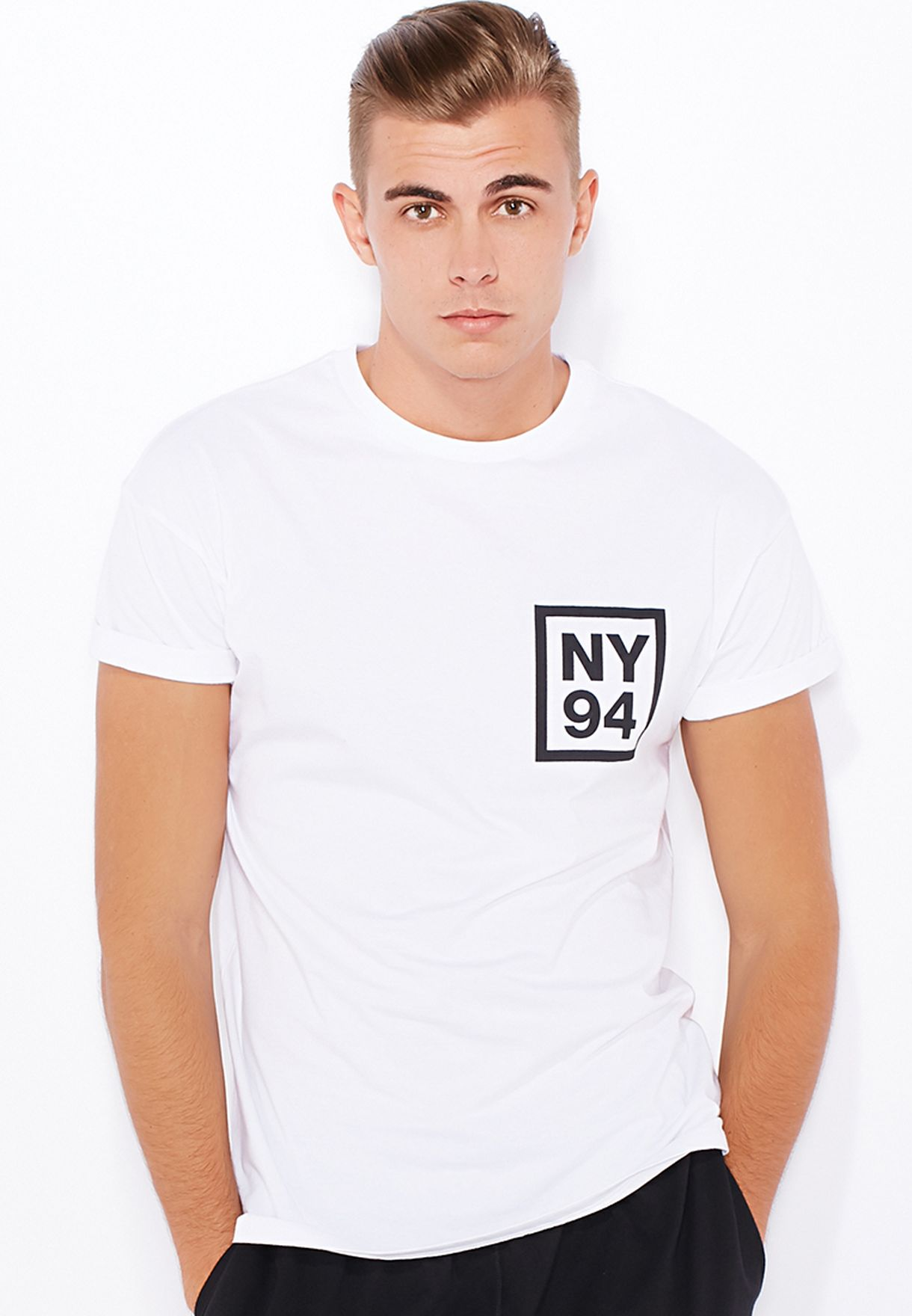 3206af0e Shop Topman white NY94 Roller T-Shirt 71Z08LWHT for Men in Qatar ...