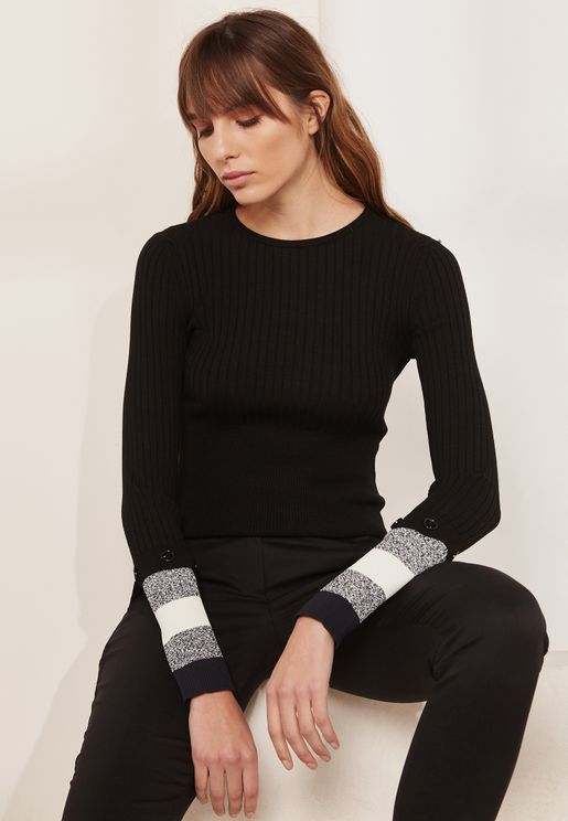 Striped Sleeve Detail Round Neck Ribbed Sweater