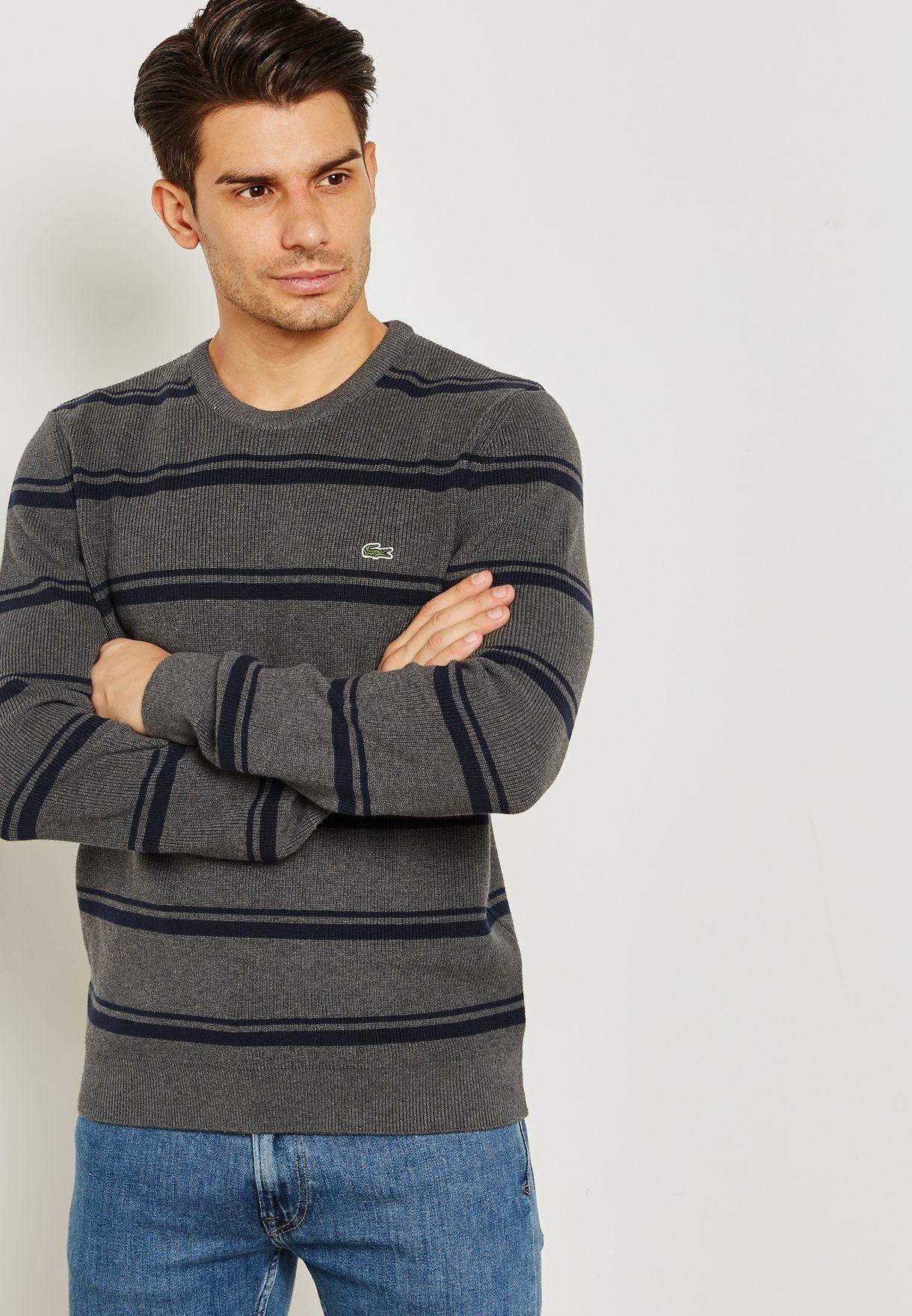 2d7808a64589 Shop Lacoste grey Striped Sweater AH9692-00 BX4 for Men in UAE ...