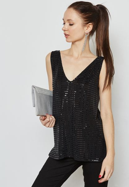 Sequin Embellished Cami Top