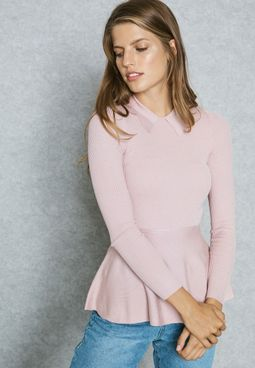 Peter Pan Collar Peplum Sweater