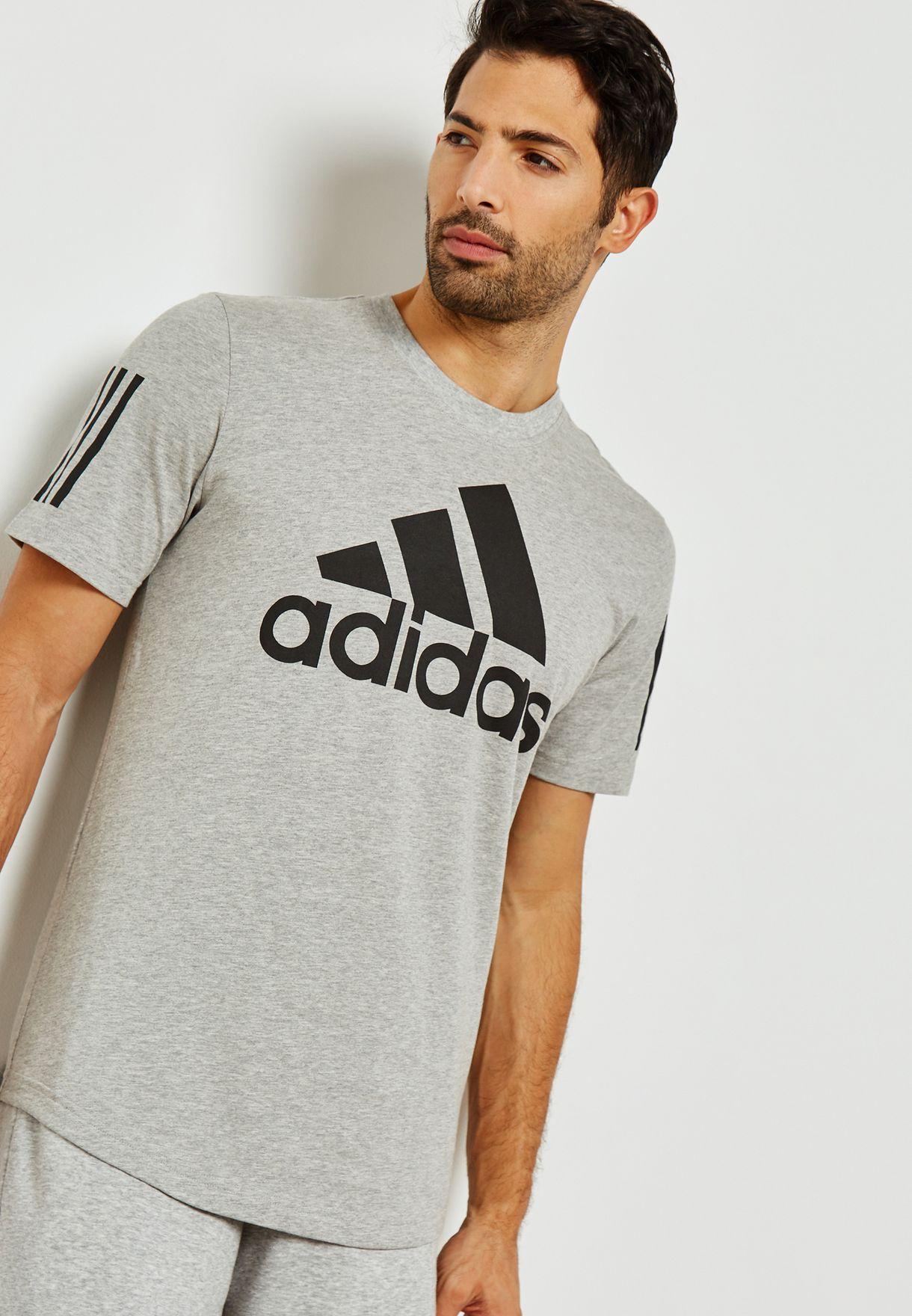 73d3203b2931 Shop adidas grey Sport ID Logo T-Shirt DM7274 for Men in UAE ...