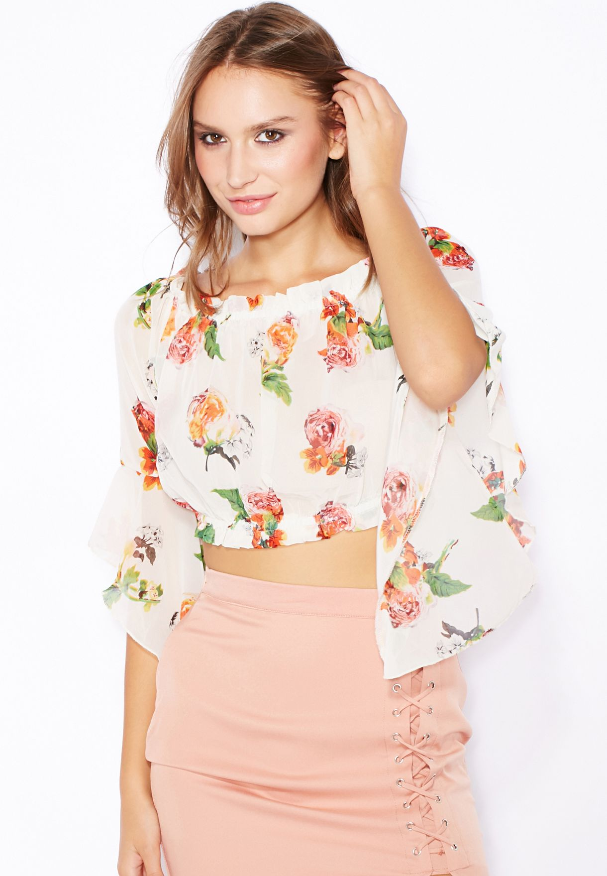 28d88f0c20 Shop Missguided prints Printed Bardot Top for Women in Oman - MI669AT16RNV