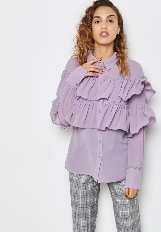 Ruffled Detail Top