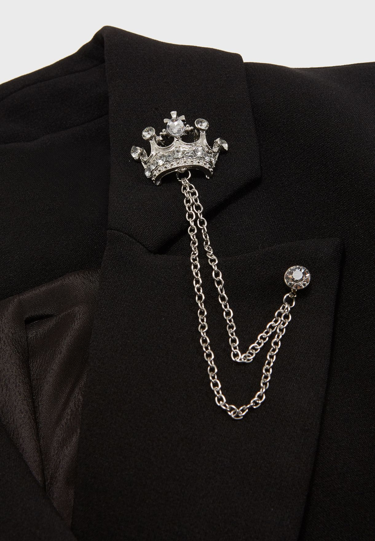Crown Brooch Lapel Pin Chain