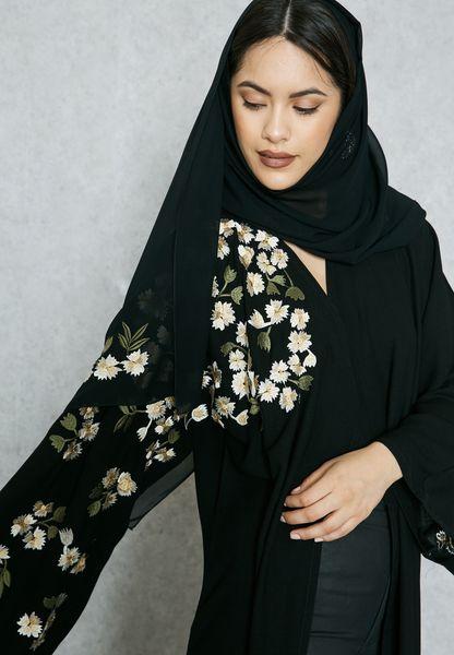 One Side Embroidered Shoulder Abaya