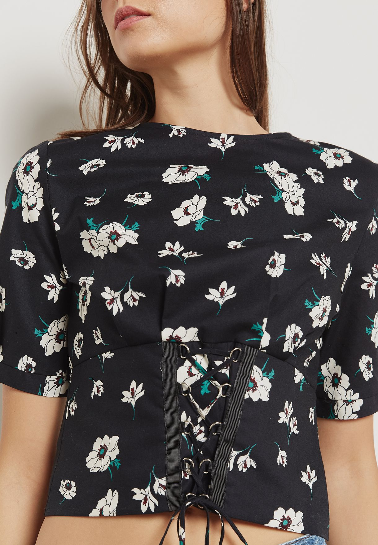 2abe77151252 Shop Topshop prints Floral Print Corset Top 13P10MBLK for Women in ...