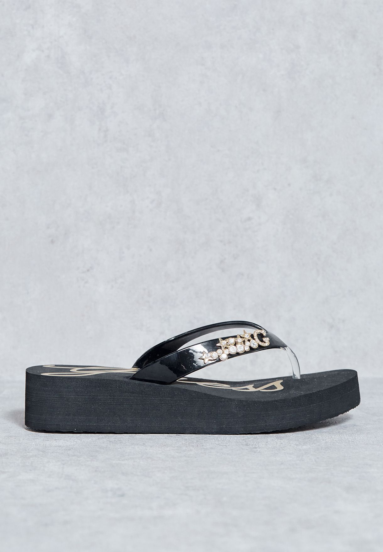 603d48462 Shop Guess black Jewelled Thong Wedge Sandals gwESNA-B for Women in ...