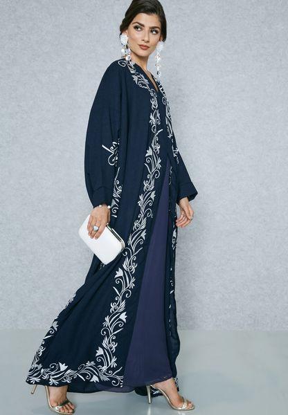Embroidered Trim Kimono Abaya