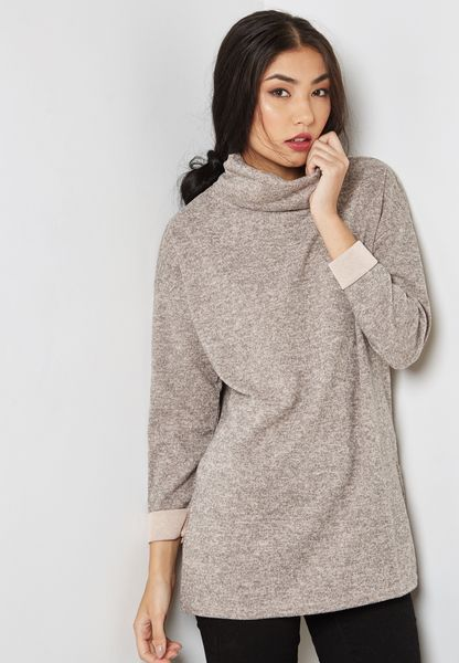 Roll Neck Textured Sweatshirt
