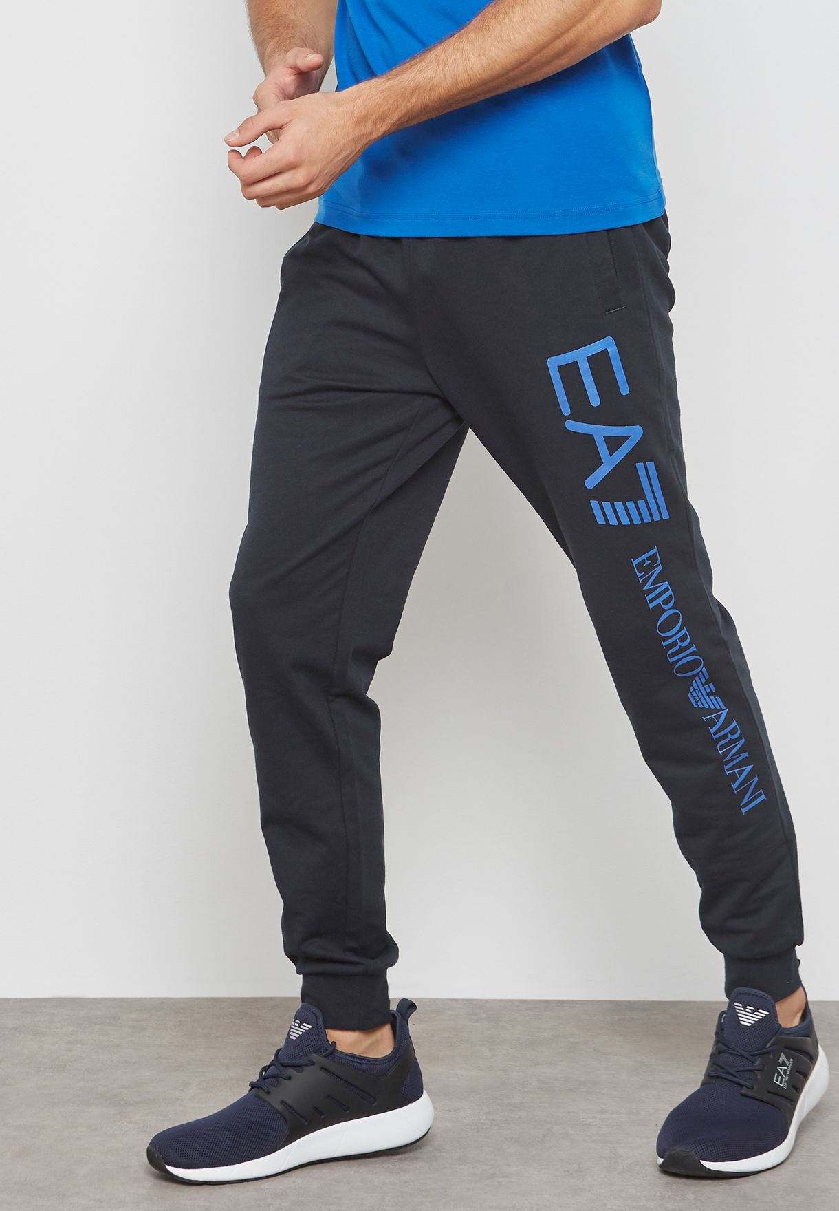 29128e06f12d78 Shop Ea7 Emporio Armani navy Train Logo Series Sweatpants PJ05Z ...