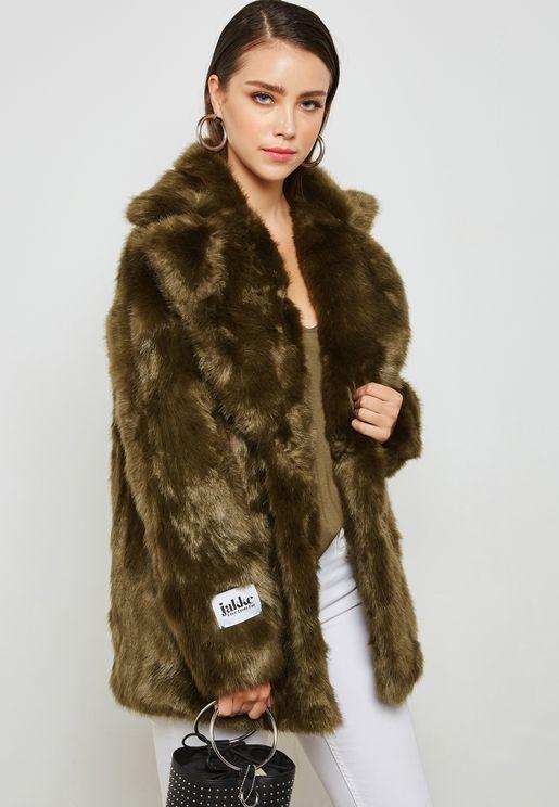 Slogan Faux Fur Jacket