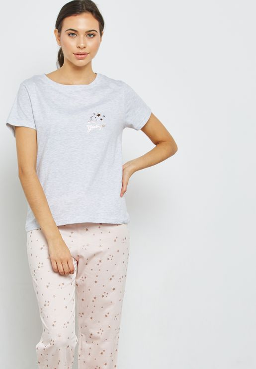 Short Sleeve T-Shirt & Printed Pyjama Set