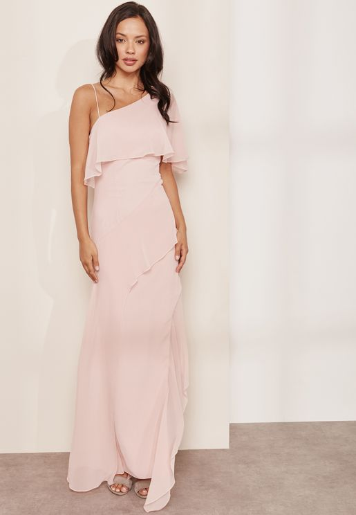 Ruffle Detail One Shoulder Maxi Dress