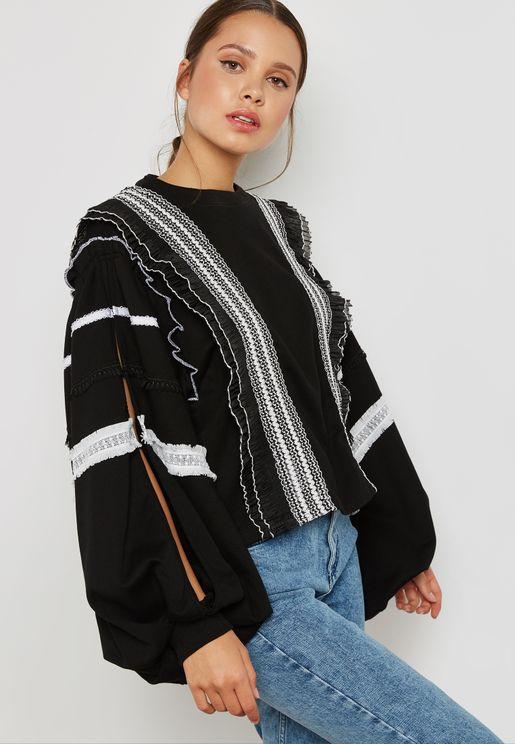 Trim inset Sweater