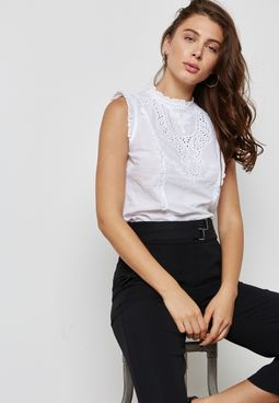 High Neck Broderie Top