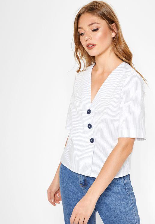 Button Detail Short Sleeve Top