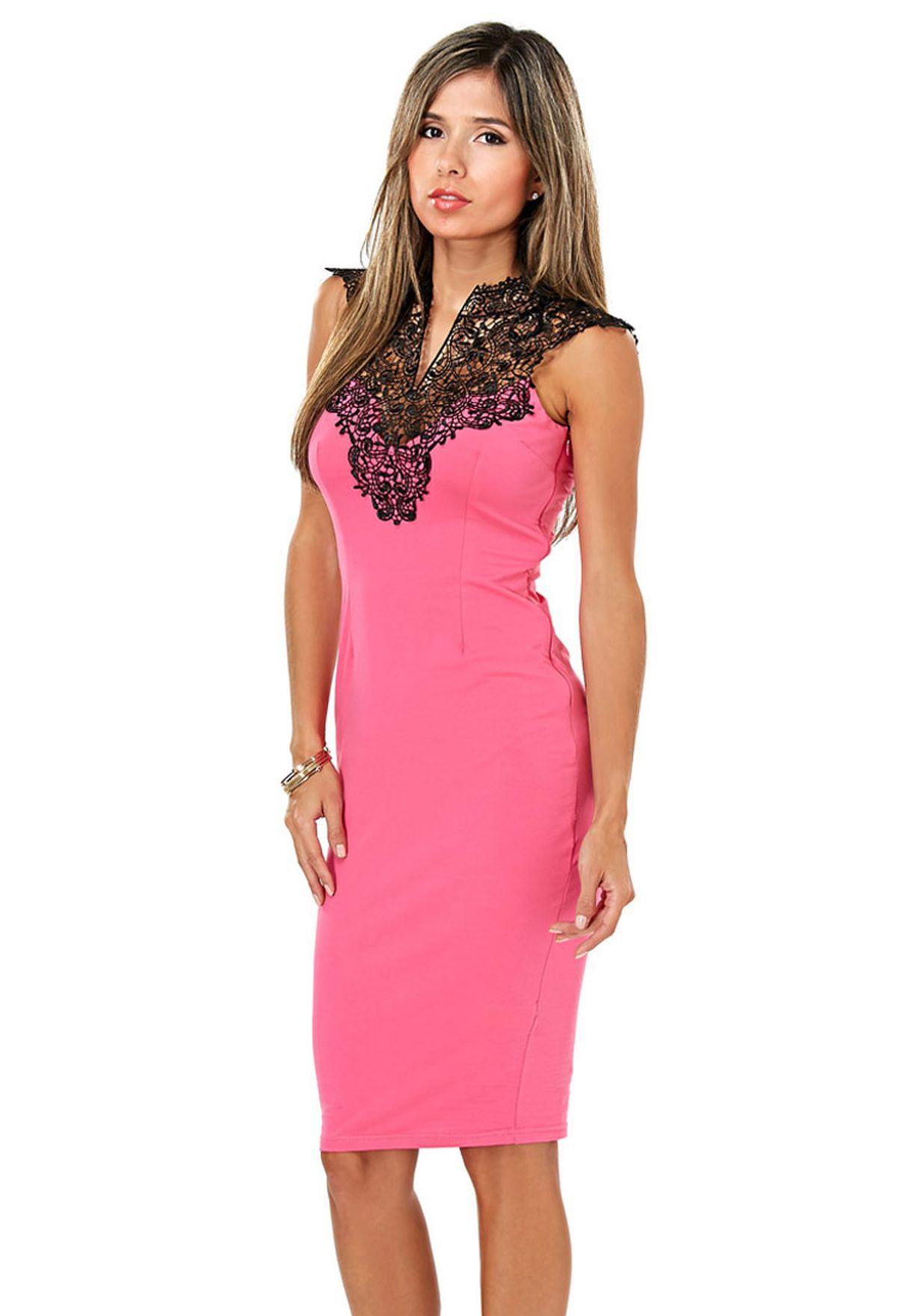 e422968b26a0e Shop Ax paris pink Crochet Mini Dress for Women in Bahrain ...