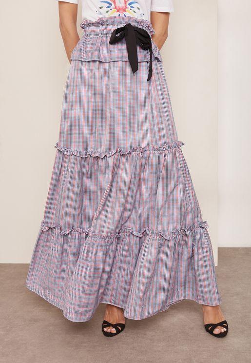 Tie Waist Checked Maxi Skirt