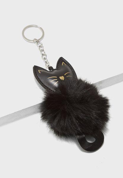 Cat Shape Pom Pom Keyring