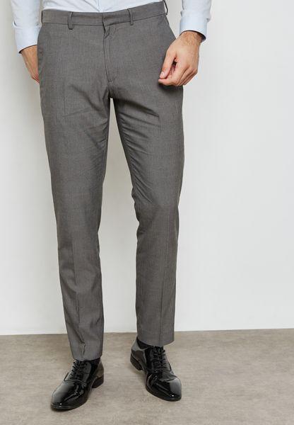 Skinny Fit Herringbone Trousers