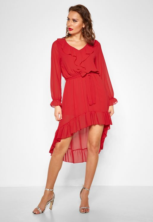 Ruffle Trim Self Tie Midi Dress