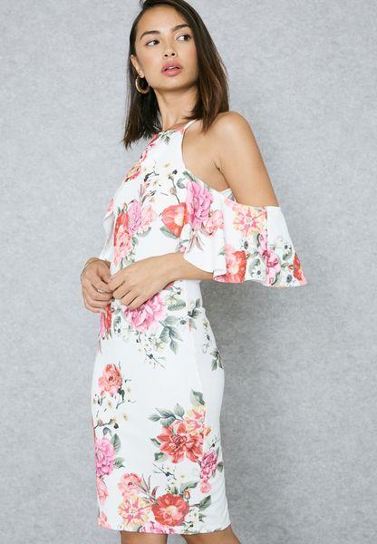 Floral Print Ruffle Cold Shoulder Dress