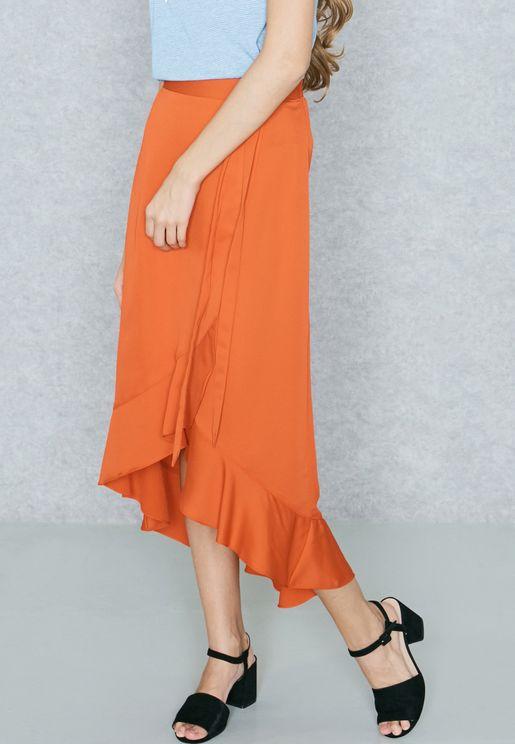Asymmetric Belted Ruffled Skirt