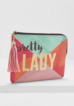 """محفظة طرية بطبعة عبارة """"Lady"""""""