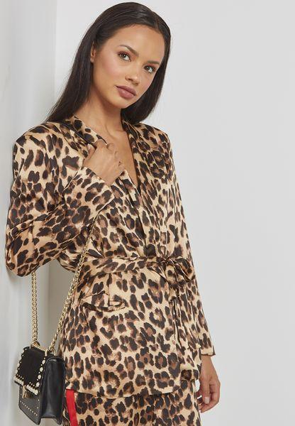 Leopard Print Self Tie Blazer