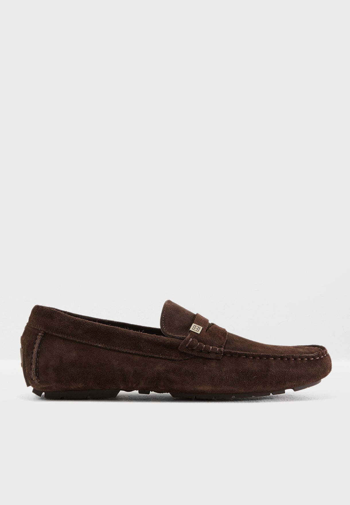 0c39625af Shop Tommy Hilfiger browns Seasonal Hardware Suede Loafers ...