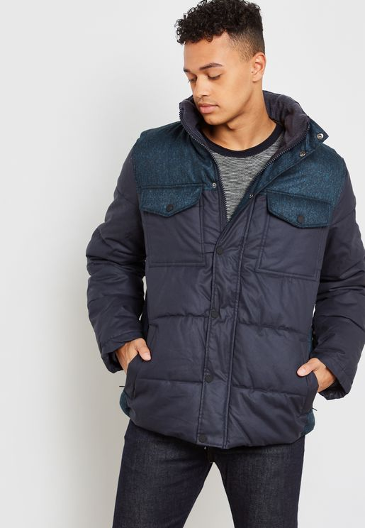 Colour Block Hooded Puffer Jacket