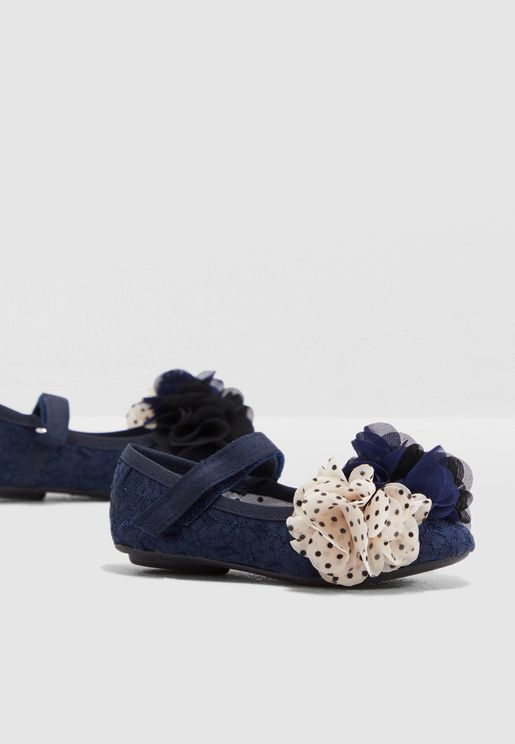 Mary Jane Flower Detail Ballerinas