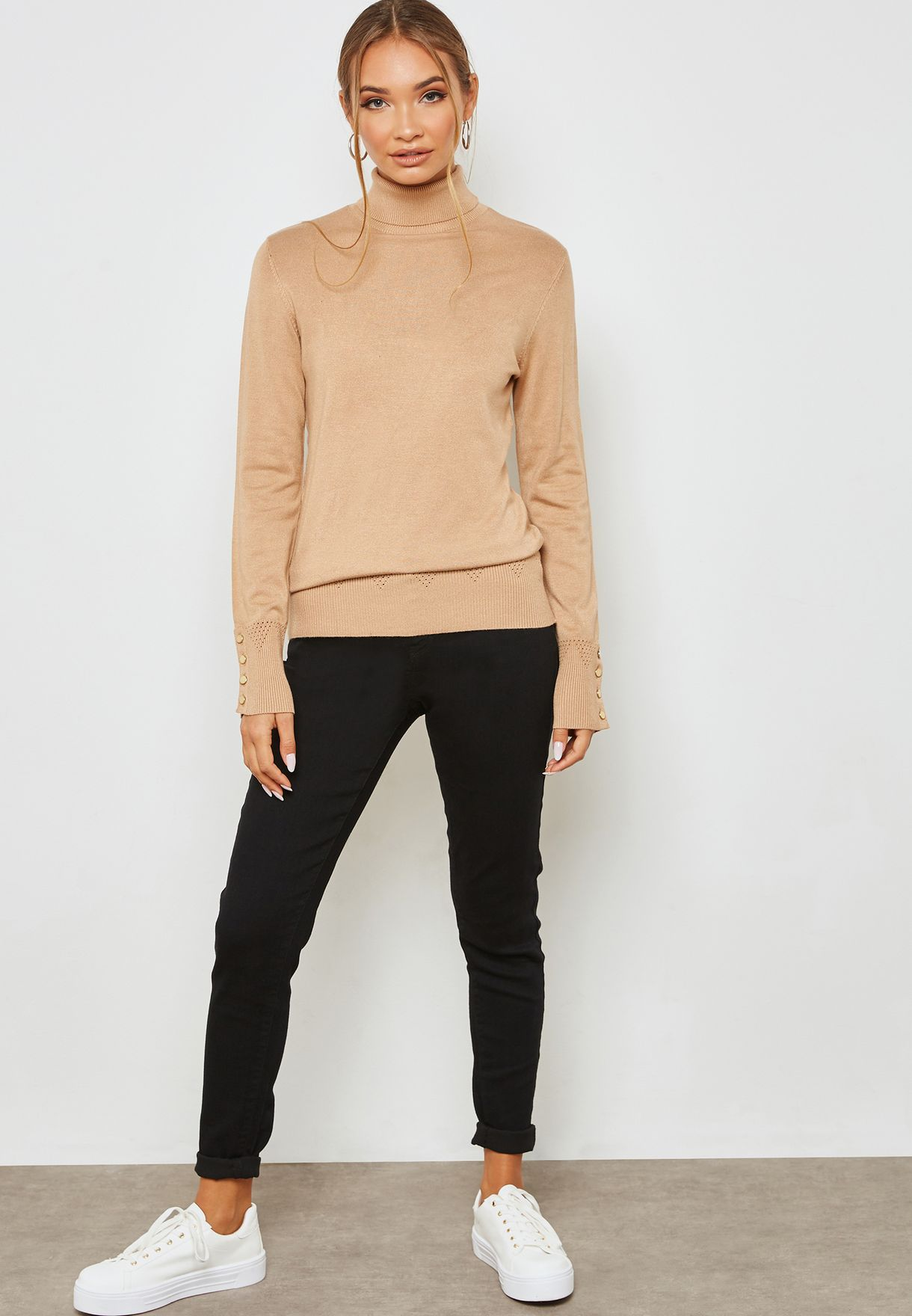 Roll Neck Sleeve Button Detail Sweater