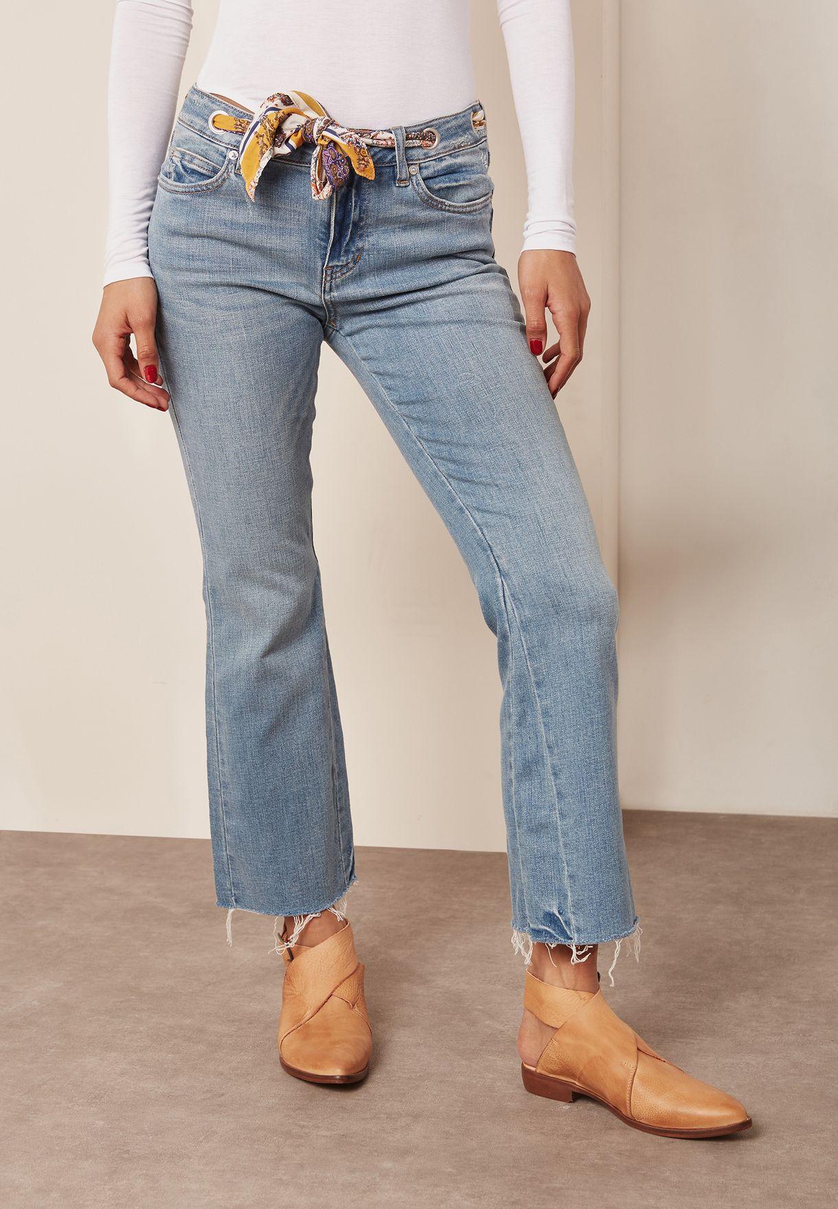 Tie Waist Crop Jeans