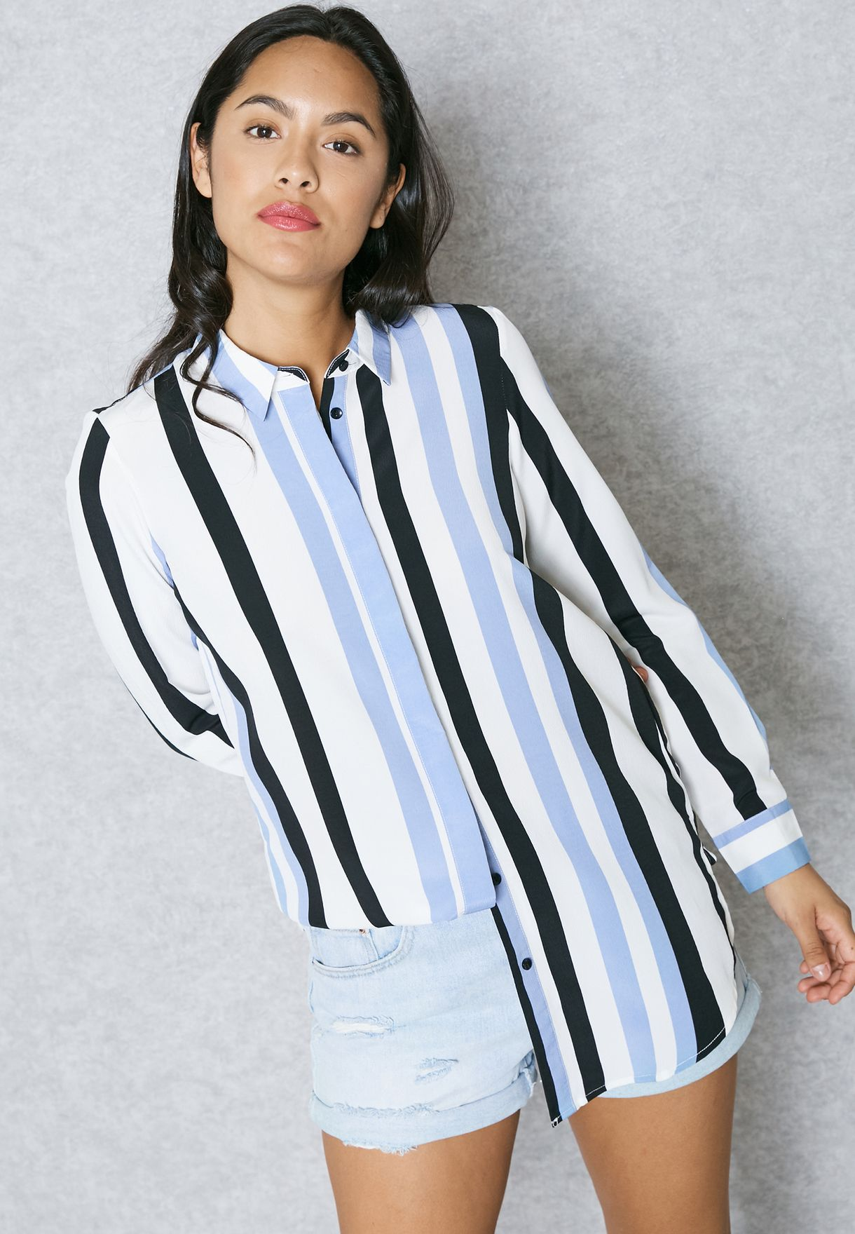 6ec57430f8 Shop Vero Moda multicolor Striped Longline Shirt 10172150 for Women ...
