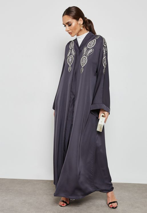 Embroidered Front Beadwork Abaya