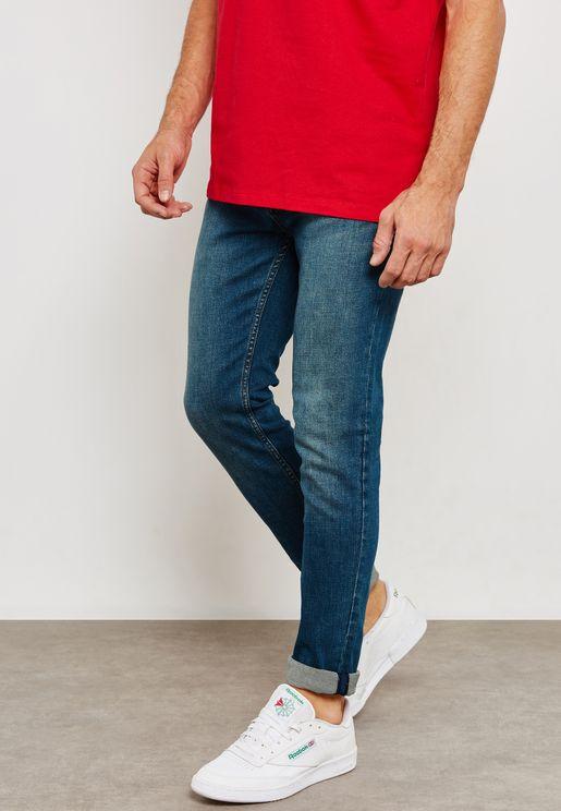 Mid Wash Stretch Skinny Jeans