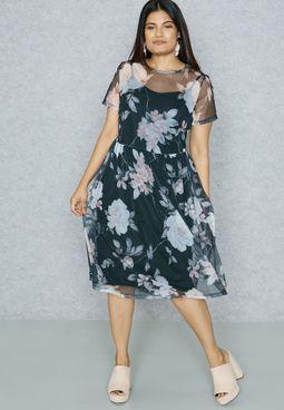 CURVE Floral Sheer Overlay Dress