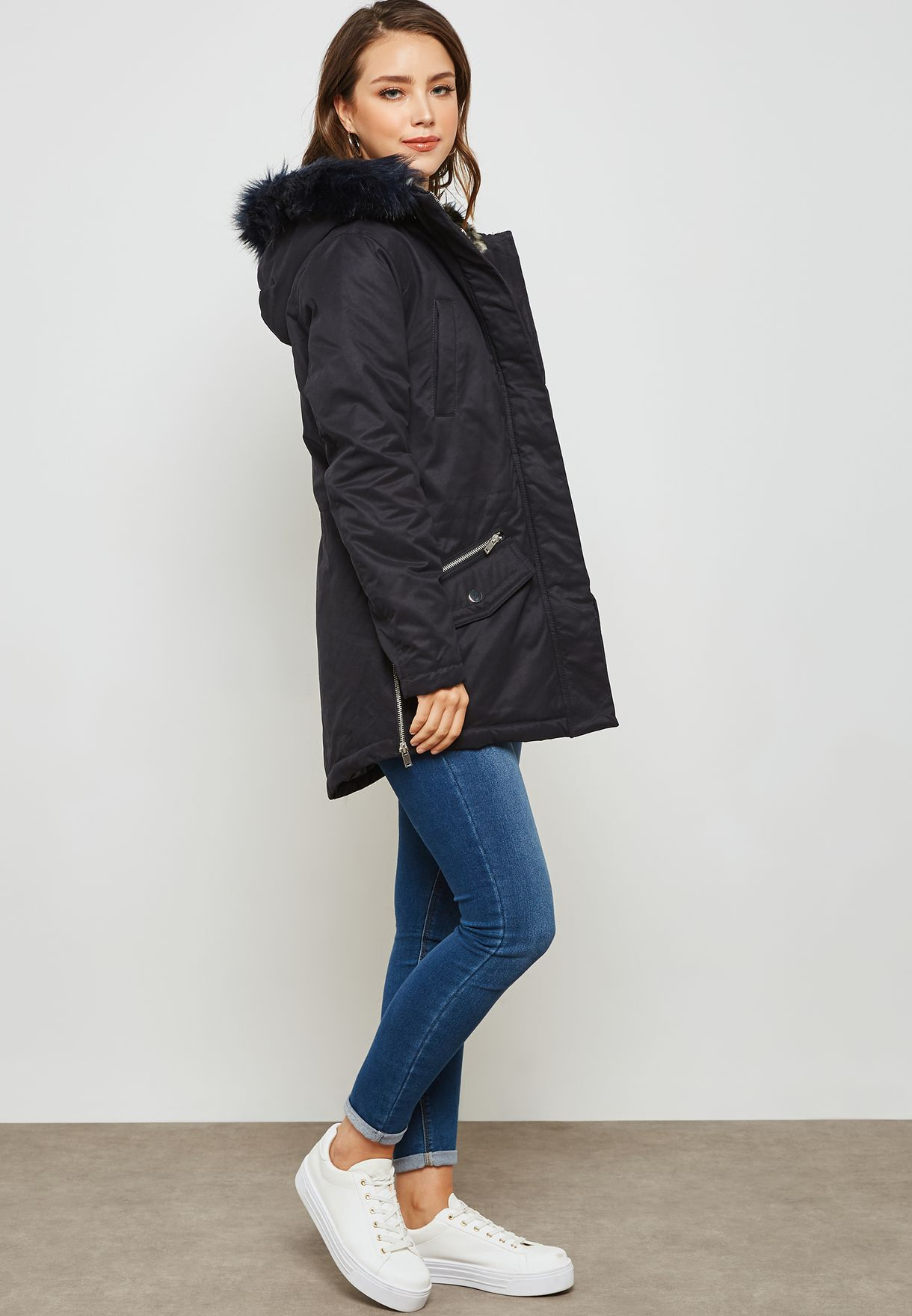 Faux Fur Hooded Parka Coat