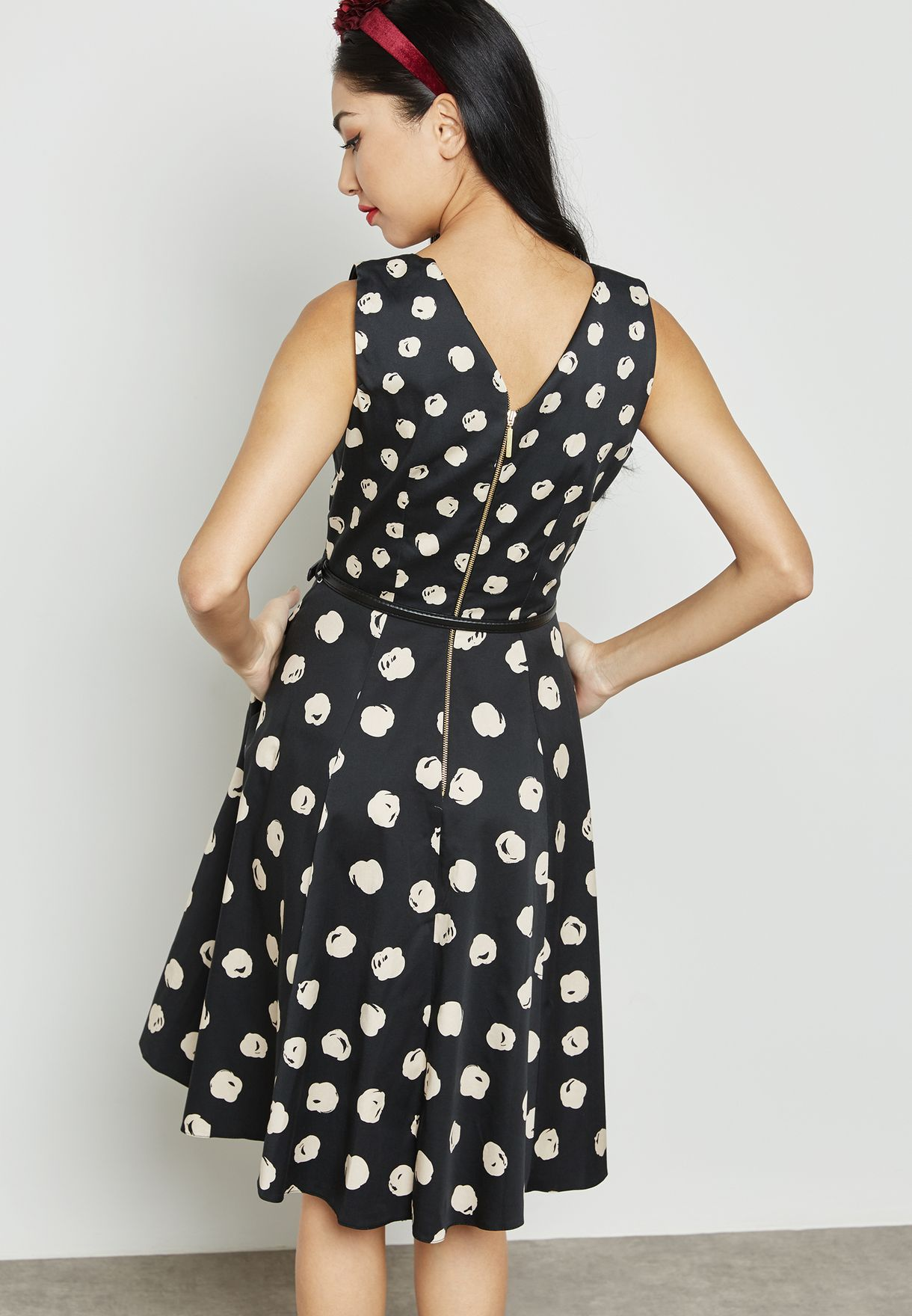 1d8cd1c7c تسوق فستان بتصميم واسع مع حزام ماركة كلوزيت لون طبعات D3266 في ...