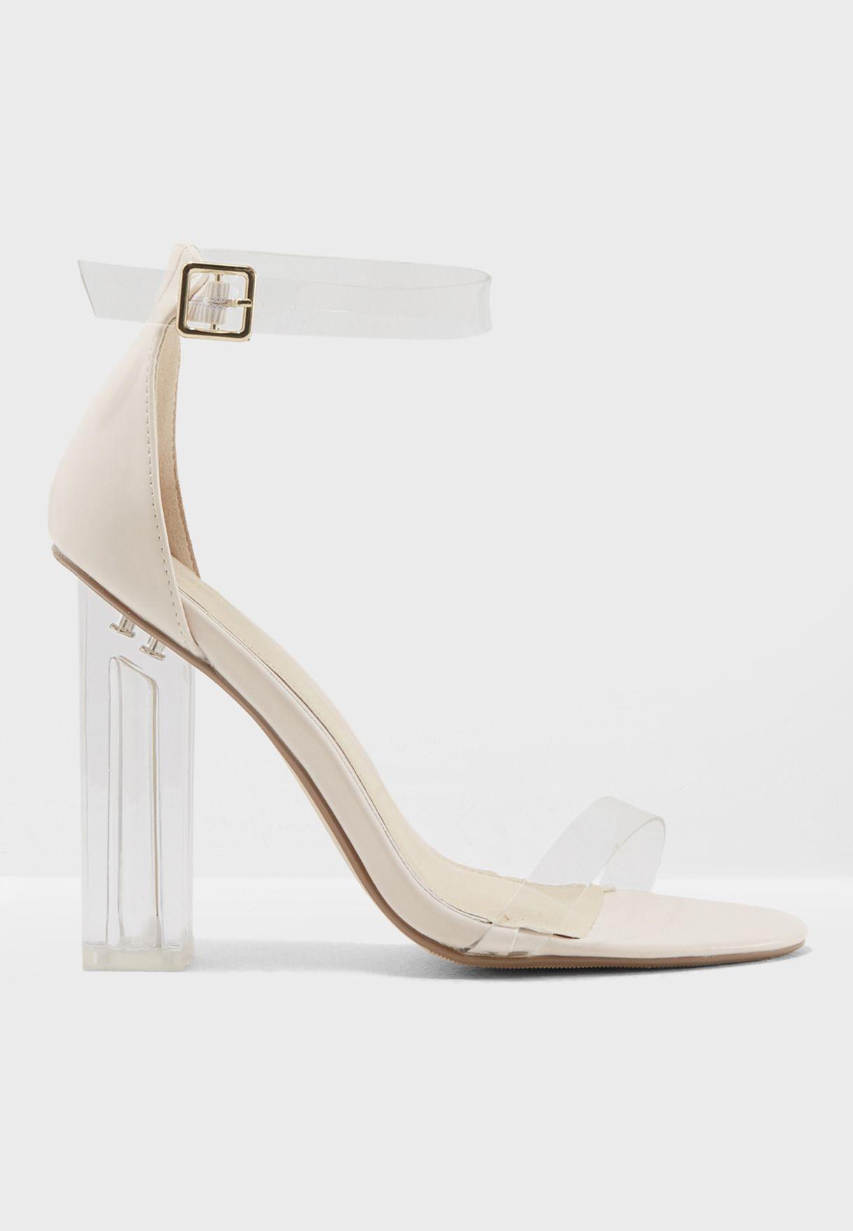 Shop Missguided Beige Block Heel Perspex Sandal F1608476