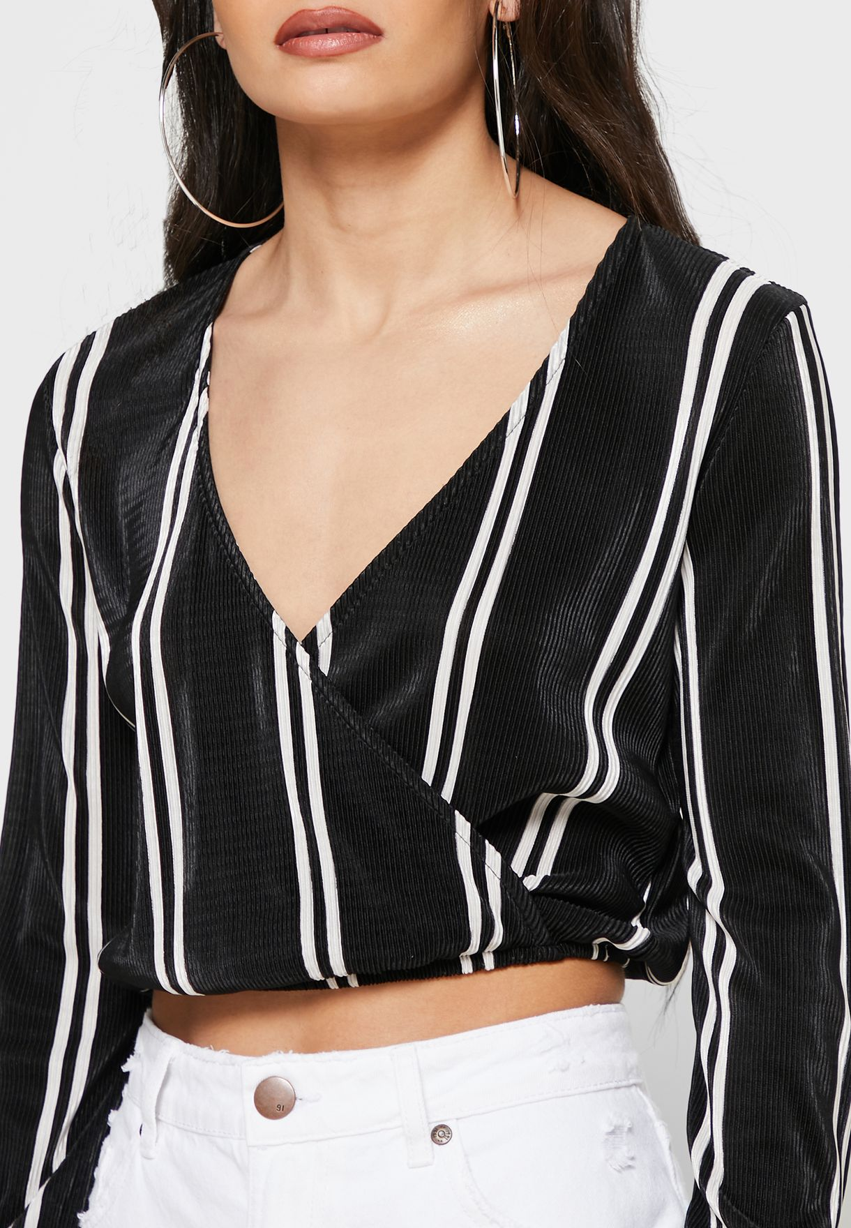 Striped Plisse Wrap Top