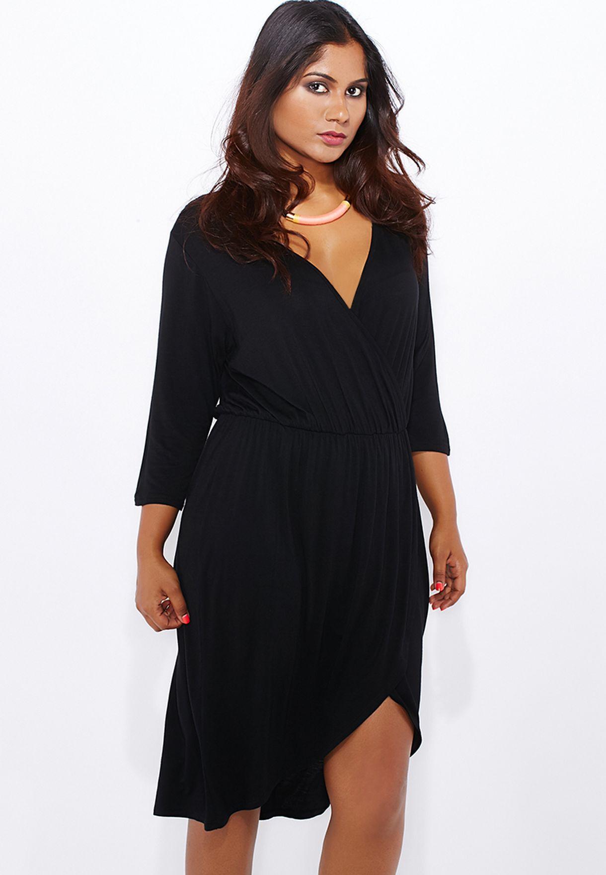 e36a993b1df79 Shop Boohoo Curve black Wrap Front Dress PZZ99909 for Women in Qatar ...