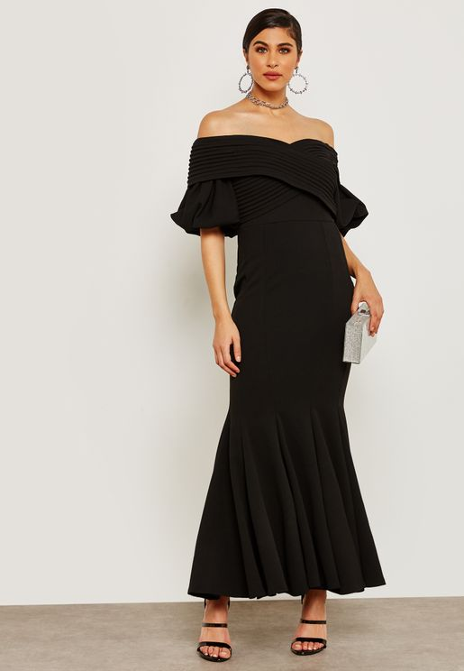 Puffed Sleeve Off Shoulder Dress