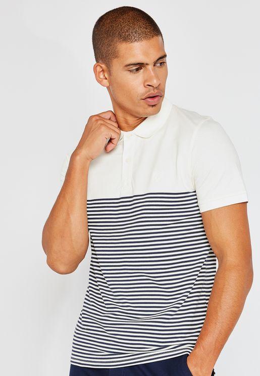 Stripe Embroidery Polo